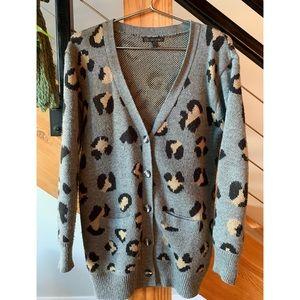 Grey Animal Print Cardigan sweater, Medium